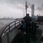 Braving the rain.