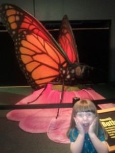 Ivy frightened of a giant butterfly at the Health Museum