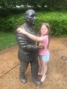 Dancing with a statue